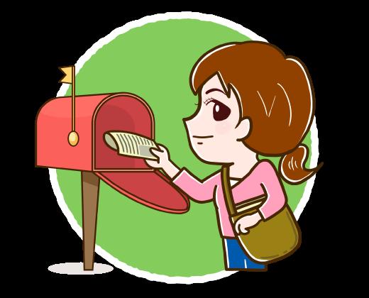 郵便受けにチラシを投函する女性